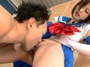 Horny Japanese schoolgirl makes facesitting and rides cockasian wet pussy, young asian}