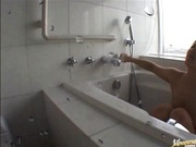 Risa Tsukino Japanese doll masturbates in the shower