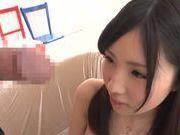 Stunning amateur Yuki Komiyama deepthroats big schlong