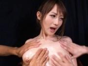 Reon Otowa Crazy Asian model enjoys a cock between her big tits