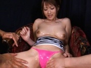 Reon Otowa Crazy Asian model enjoys a cock between her big tits