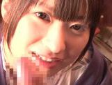 Savory Asian teen Rio Ogawa deepthroats cock in sauna picture 11