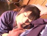 Savory Asian teen Rio Ogawa deepthroats cock in sauna picture 14