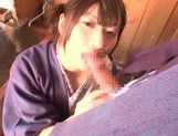 Savory Asian teen Rio Ogawa deepthroats cock in sauna picture 15