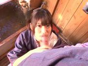 Savory Asian teen Rio Ogawa deepthroats cock in sauna