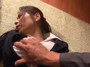 Hot milf in office suit Mayuka Okada cock sucking action