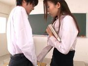 Hot Japanese teacher Natsume Inagawa seduces her studentasian schoolgirl, fucking asian}