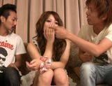 Risa Tsukino spreads her tight pussy lips wide open to reveal pink