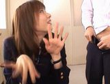Yuma Asami gets fucked by two guys while wearing a school uniform picture 4