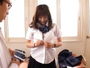 Yuma Asami gets fucked by two guys while wearing a school uniform