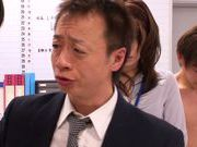 Gorgeous AV babe Asuka is pounded by horny office dudes