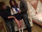 Busty Natsumi Shiraishi puts on school uniform for sex picture 12