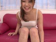 Yummy teen girl Kazuha Mukai masturbates her young pussy