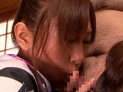 Kinky Japanese teens share one hard boner sucking it passionately