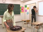 Beautiful Kokone Mizutani lets colleague to deep fuck her at school