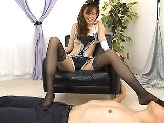 Eccentric Japanese AV model maid does some facesitting
