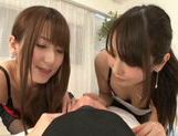 Hot Japanese teens Yui Hatano and Chika Arimura share big cock picture 13