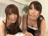 Hot Japanese teens Yui Hatano and Chika Arimura share big cock picture 4