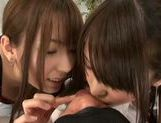 Hot Japanese teens Yui Hatano and Chika Arimura share big cock picture 7