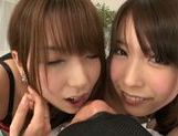 Hot Japanese teens Yui Hatano and Chika Arimura share big cock picture 8