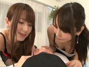 Hot Japanese teens Yui Hatano and Chika Arimura share big cock