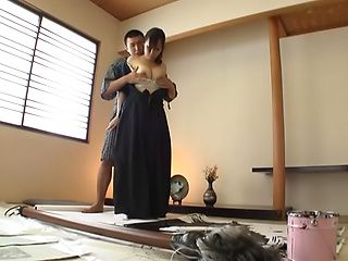 Sexy Japanese housewife enjoys tough oral stimulation