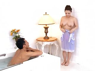 Mature Japanese hottie with big breasts Mako Oda gives sexy massage