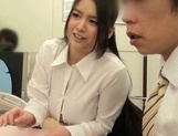Adorable Japanese office girl with fantastic big tits enjoys hot shagging