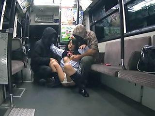 Sweet Japanese AV model is a schoolgirl in a miniskirt getting sex on the bus