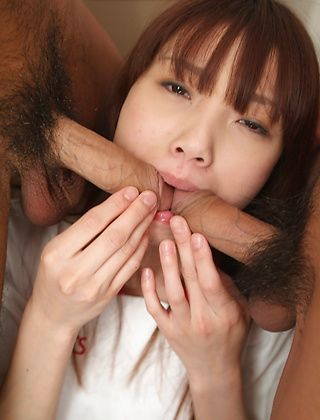 Ibuki Asian model in school uniform gives a blowjob
