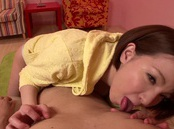 Cum-thirsty Asian milf Tsujimoto Ryou attacks cock with her mouth
