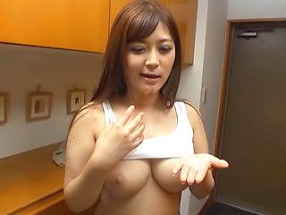 Horny Japanese Av model is a hot milf giving POV tit fuck