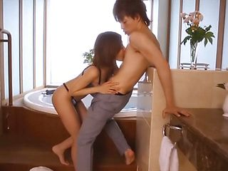 Akari Asahina naughty milf gets stand fucking after bath