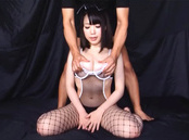 Teen chick in fishnet stockings Yuna Aoba enjoys rear penetration