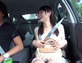 Teen amateur Kokoro Harumiya masturbates inside a car picture 11