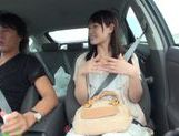 Teen amateur Kokoro Harumiya masturbates inside a car picture 12