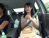 Teen amateur Kokoro Harumiya masturbates inside a car picture 13