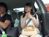 Teen amateur Kokoro Harumiya masturbates inside a car picture 14