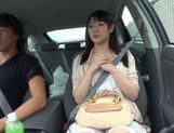 Teen amateur Kokoro Harumiya masturbates inside a car picture 15