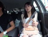 Teen amateur Kokoro Harumiya masturbates inside a car picture 8