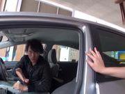Teen amateur Kokoro Harumiya masturbates inside a car
