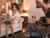 Horny and filthy babe Makoto Yuuki teased and fondled by a bunch of guys picture 9