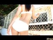 Sexy solo babe Nana Ogura gets naked outdoors!