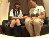 Rei Mizuna Asian doll in school uniform gets her cunt fingered picture 1