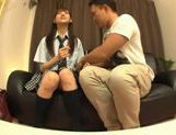 Rei Mizuna Asian doll in school uniform gets her cunt fingered picture 3
