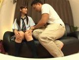 Rei Mizuna Asian doll in school uniform gets her cunt fingered picture 5