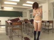 Busty Asian MILF Nana Aoyama plays dress-up and gets fucked In A Classroom