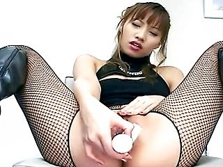 Bad MILF Wears Boots And Fishnets To Masturbate In