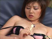 Sexy Japanese Av model gets creamed pussy
