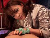 Mihiro puts her mouth and hand to a good use in blow&handjob action picture 8